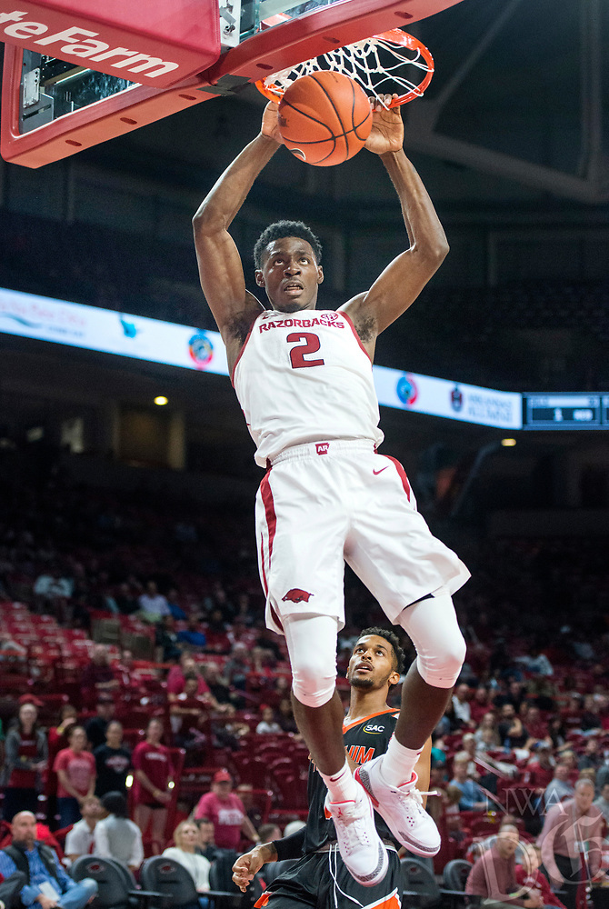 NWA Democrat-Gazette/BEN GOFF @NWABENGOFF <br /> Adrio Bailey of Arkansas dunks in the second half vs Tusculum Friday, Oct. 26, 2018, during an exhibition game in Bud Walton Arena in Fayetteville.