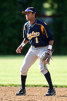 """May 10,2010:  Shortstop Chris """"Cito"""" Culver (1) of the Irondequoit Eagles gets ready for a play in a game vs. the Canandaigua Braves during a Monroe County regular season game at Evans Field in Canandaigua, NY.  The game was called with a 19-19 score after 7 innings because of darkness.  Photo by Mike Janes/Four Seam Images"""