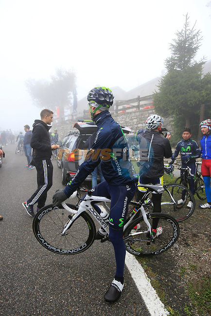 Newly crowned World Champion Rui Costa (POR) Movistar Team takes a break at the summit of the vicious 28% Muro di Sormano climb in preparation for the 2013 Tour of Lombardy, 4th October 2013.<br /> (Photo: Eoin Clarke/www.newsfile.ie)