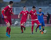 27th March 2018, Karadjorde Stadium, Novi Sad, Serbia; Under 21 International Football Friendly, Serbia U21 versus Italy U21;  Daniele Verde of Italy in action against Midfielder Sasa Lukic of Serbia