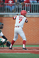 Jack Kenley (7) of the Arkansas Razorbacks at bat against the Charlotte 49ers at Hayes Stadium on March 21, 2018 in Charlotte, North Carolina.  The 49ers defeated the Razorbacks 6-3.  (Brian Westerholt/Four Seam Images)
