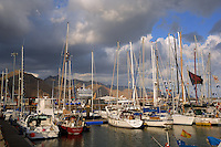 Santa Cruz de Tenerife, Santa Cruz harbour Marina,boats,yachts. German cruise ship Europa in the background.