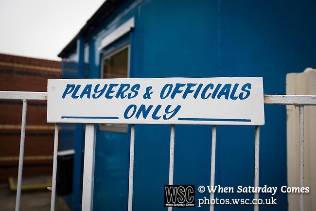 "Ramsbottom United 1 Barwell 3, 03/10/2015. Riverside Stadium, Northern Premier League. A sign saying ""players and officials only"" at the Harry Williams Riverside Stadium, home to Ramsbottom United before they played Barwell in a Northern Premier League premier division match. This was the club's 13th league game of the season and they were still to record their first victory following a 3-1 defeat, watched by a crowd of 176. Rams bottom United were formed by Harry Williams, the current chairman, in 1966 and progressed from local amateur football  in Bury to the semi-professional leagues. Photo by Colin McPherson."