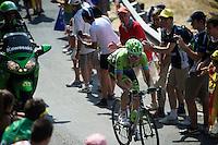 Kristijan Koren (SVK/Cannondale-Garmin) up the Cote de la Croix Neuve (2C/1055m/3km/10.1%)<br /> <br /> stage 14: Rodez - Mende (178km)<br /> 2015 Tour de France