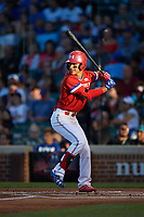 Alek Thomas (2) of Mount Carmel High School in Chicago, Illinois at bat during the Under Armour All-American Game presented by Baseball Factory on July 29, 2017 at Wrigley Field in Chicago, Illinois.  (Mike Janes/Four Seam Images)