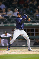 Victor Reyes (17) of the Toledo Mud Hens at bat against the Charlotte Knights at BB&T BallPark on April 24, 2019 in Charlotte, North Carolina. The Knights defeated the Mud Hens 9-6. (Brian Westerholt/Four Seam Images)