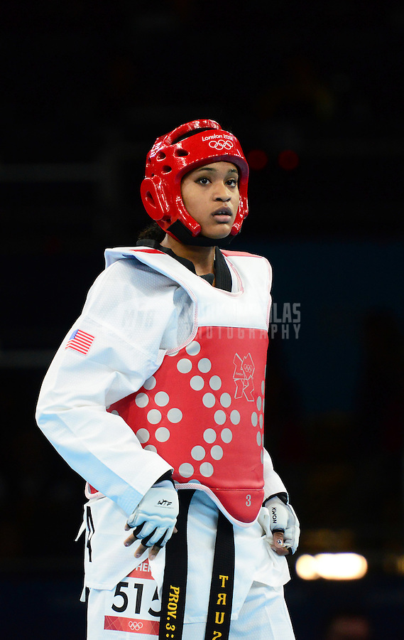 Aug 10, 2012; London , United Kingdom; Paige McPherson (USA) against Franka Anic (not pictured) in the women's 67kg bronze medal final during the London 2012 Olympic Games at ExCeL - South Arena 1. McPherson would win the match to earn a bronze medal. Mandatory Credit: Mark J. Rebilas-USA TODAY Sports