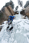 Ice climbing at Hidden Falls in Wild Basin, Rocky Mountain National Park, Colorado, USA; outdoor winter recreation and sport (MR)