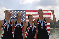 Ottensheim, AUSTRIA.  A  Final, Women's Fours, USA W4- Silver medallist bowKaren COLWELL, Stesha CARLE, Sarah TROWBRIDGE and Ester LOFGREN, at the 2008 FISA Senior and Junior Rowing Championships,  Linz/Ottensheim. Sunday,  27/07/2008.  [Mandatory Credit: Peter SPURRIER, Intersport Images] Rowing Course: Linz/ Ottensheim, Austria