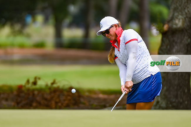 Marissa Steen (USA) chips on to 1 during round 2 of the 2019 US Women's Open, Charleston Country Club, Charleston, South Carolina,  USA. 5/31/2019.<br /> Picture: Golffile   Ken Murray<br /> <br /> All photo usage must carry mandatory copyright credit (© Golffile   Ken Murray)