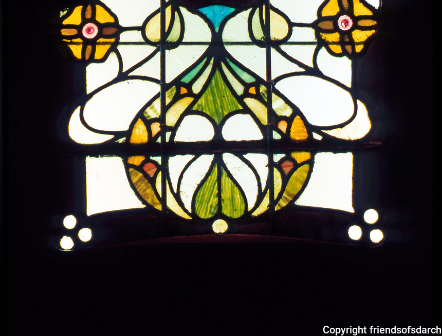 George Walton: Glasgow Style Stained Glass on Black, Door at Argyle St. Tearooms. A collaboration with C.R. Mackintosh, 1897. Walton's firm specialized in glass.