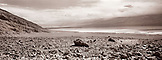 USA, California, Death Valley National Park, valley with Badwater Salt Flats in distance (B&W)