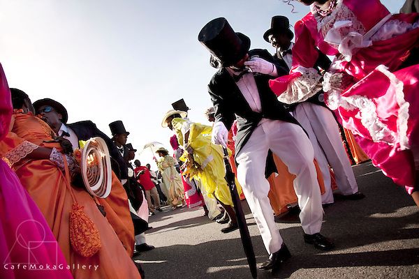 Tobago Heritage Festival, Moriah wedding procession dancing in the street. Top hats and tailcoats and frilly frocks, Tobago