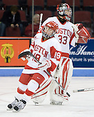 Jillian Kirchner (BU - 18), Melissa Haber (BU - 33) - The Boston University Terriers defeated the Providence College Friars 5-3 on Saturday, November 14, 2009, at Agganis Arena in Boston, Massachusetts.