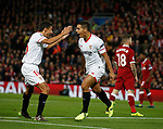 Wissam Ben Yedder of Sevilla celebrates scoring the opening goal during the Champions League Group E match at the Anfield Stadium, Liverpool. Picture date 13th September 2017. Picture credit should read: Simon Bellis/Sportimage