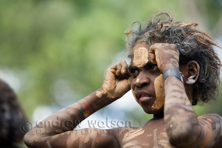Indigenous boy at the Laura Aboriginal Dance Festival.  Laura, Queensland, Australia