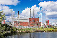 A NRG owned coal fired energy facility that plans to convert to a natural gas facility, Dunkirk, New York, USA.