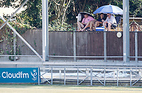 Fans watch the game from a raised platform with shades and cooling equipment during Essex CCC vs Surrey CCC, Bob Willis Trophy Cricket at The Cloudfm County Ground on 9th August 2020