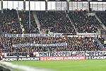 01.12.2018,  GER; 2. FBL, FC St. Pauli vs SG Dynamo Dresden ,DFL REGULATIONS PROHIBIT ANY USE OF PHOTOGRAPHS AS IMAGE SEQUENCES AND/OR QUASI-VIDEO, im Bild Feature die Fans von Dresden demonstrieren mit Bannern gegen die Spiele unter der Woche Foto © nordphoto / Witke *** Local Caption ***