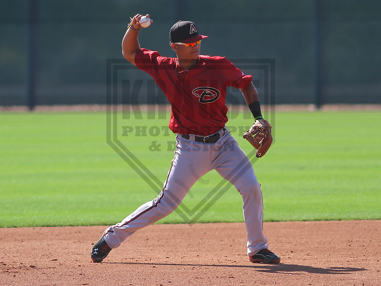 SCOTTSDALE - March 2015: Fidel Pena of the Arizona DiamondBacks during a spring training workout on March 22nd, 2015 at Salt River Fields at Talking Stick in Scottsdale, Arizona. (Photo Credit: Brad Krause)
