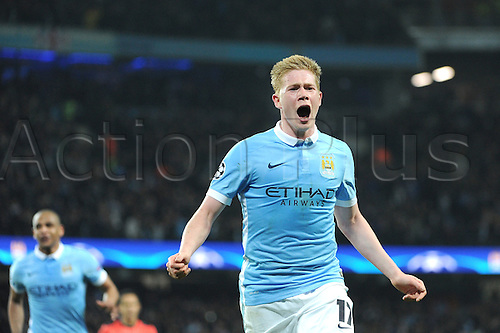 12.04.2016. manchester, England. UEFA Champions league, quarterfinals, second leg. Manchester City versus Paris St Germain.  Kevin De Bruyne (man)  celebrates his goal