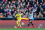 Samuel Castillejo Azuaga, Samu Castillejo, of Villarreal CF (L) fights for the ball with Geoffrey Kondogbia of Valencia CF (R) during the La Liga 2017-18 match between Valencia CF and Villarreal CF at Estadio de Mestalla on 23 December 2017 in Valencia, Spain. Photo by Maria Jose Segovia Carmona / Power Sport Images