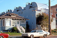 Santa Monica CA: Condominium Townhouses, 116 Pacific St.  (Note the new apartments on the right and the old house on the left. ) Photo '89.
