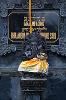Jatiluwih, Bali, Indonesia.  Offerings to ganesh at Entrance to Luhur Bhujangga Waisnawa Hindu Temple.