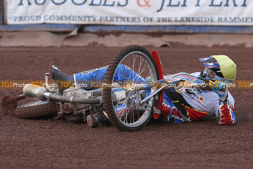 Heat 1: Luke Bowen of Swindon takes a tumble - Lakeside Hammers vs Swindon Robins - Elite League Speedway at Arena Essex Raceway - 12/08/11 - MANDATORY CREDIT: Gavin Ellis/TGSPHOTO - Self billing applies where appropriate - 0845 094 6026 - contact@tgsphoto.co.uk - NO UNPAID USE.
