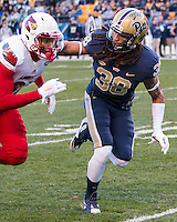 Pitt defensive back Ryan Lewis (38) defends a Louisville receiver. The Pitt Panthers football team defeated the Louisville Cardinals 45-34 on Saturday, November 21, 2015 at Heinz Field, Pittsburgh, Pennsylvania.