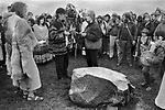 Avebury Wiltshire, Druid 1996. A hand fasting ceremony over the ring stone at Avebury, a renewal of their wedding vows. The British Druid Order.