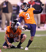 Nov 13, 2010; Charlottesville, VA, USA; Virginia Cavaliers kicker Robert Randolph (3) and Virginia Cavaliers wide receiver Jacob Hodges (27) during the game against the Maryland Terrapins at Scott Stadium. Maryland won 42-23.  Mandatory Credit: Andrew Shurtleff