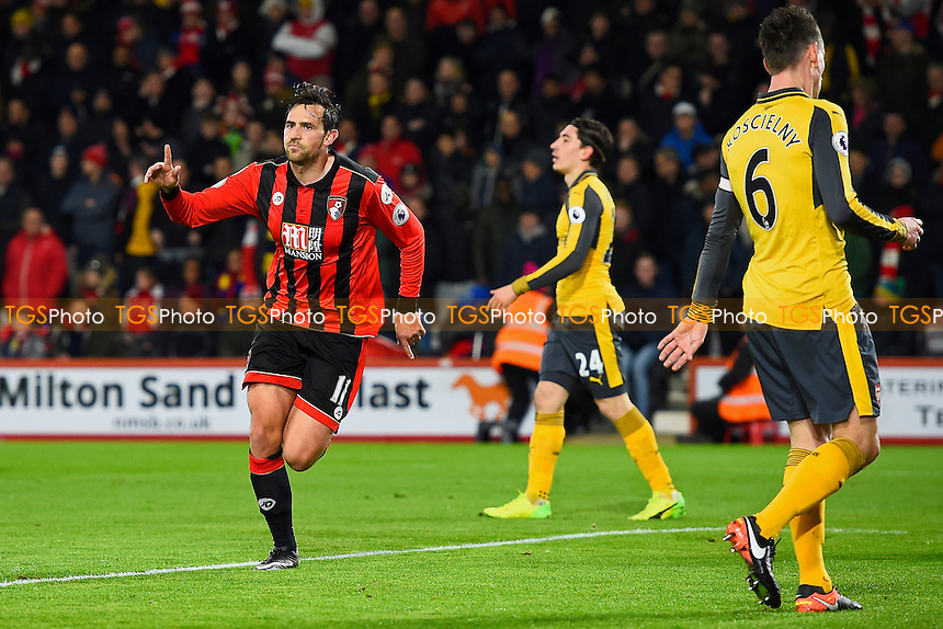Charlie Daniels of AFC Bournemouth celebrates after scoring the first goal during AFC Bournemouth vs Arsenal, Premier League Football at the Vitality Stadium on 3rd January 2017