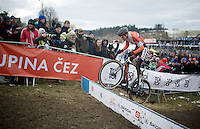 Mathieu Van der Poel (NLD) attacking the barriers<br /> <br /> Elite Men's race<br /> <br /> 2015 UCI World Championships Cyclocross <br /> Tabor, Czech Republic