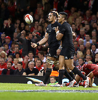 Pictured: Keven Mealamu of New Zealand (R) celebrating after scoring a try Saturday 22 November 2014<br />