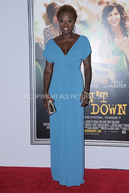 WWW.ACEPIXS.COM . . . . . .September 23, 2012...New York City....Viola Davis arrives to 20th Century Fox and NBC News Education Nation presents the premiere of Won`t Back Down at the Ziegfeld Theatre on September 23, 2012 in New York City ....Please byline: KRISTIN CALLAHAN - ACEPIXS.COM.. . . . . . ..Ace Pictures, Inc: ..tel: (212) 243 8787 or (646) 769 0430..e-mail: info@acepixs.com..web: http://www.acepixs.com .