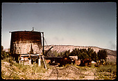 RGS Ridgway yards with water tank to left and roundhouse in background.  #461 is parked in front of the roundhouse.<br /> RGS  Ridgway, CO  Taken by Pfeiffer, Jack A. - ca, 1951