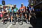 The leaders jerseys lined up before the start of Stage 5 of the Race of the Two Seas, the 54th Tirreno-Adriatico 2019, running 180km from Colli al Matauro to Recanati, Italy. 17th March 2019.<br /> Picture: LaPresse/Gian Mattia D'Alberto | Cyclefile<br /> <br /> <br /> All photos usage must carry mandatory copyright credit (© Cyclefile | LaPresse/Gian Mattia D'Alberto)