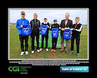 Balbriggan Golf Club boys With Kate Wright CGI and Brendan Byrne Bank of Ireland.<br /> Junior golfers from across Leinster practicing their skills at the regional finals of the Dubai Duty Free Irish Open Skills Challenge supported by Bank of Ireland at the Heritage Golf Club, Killinard, Co Laois. 2/04/2016.<br /> Picture: Golffile | Fran Caffrey<br /> <br /> <br /> All photo usage must carry mandatory copyright credit (© Golffile | Fran Caffrey)