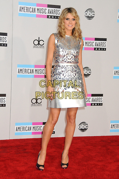 Heidi Klum.2011 American Music Awards - Arrivals held at Nokia Theatre LA Live, Los Angeles, California, USA..November 20th, 2011.ama amas ama's full length silver sleeveless silk satin perforated dress cut out away pattern open toe shoes black.CAP/ADM/BP.©Byron Purvis/AdMedia/Capital Pictures.