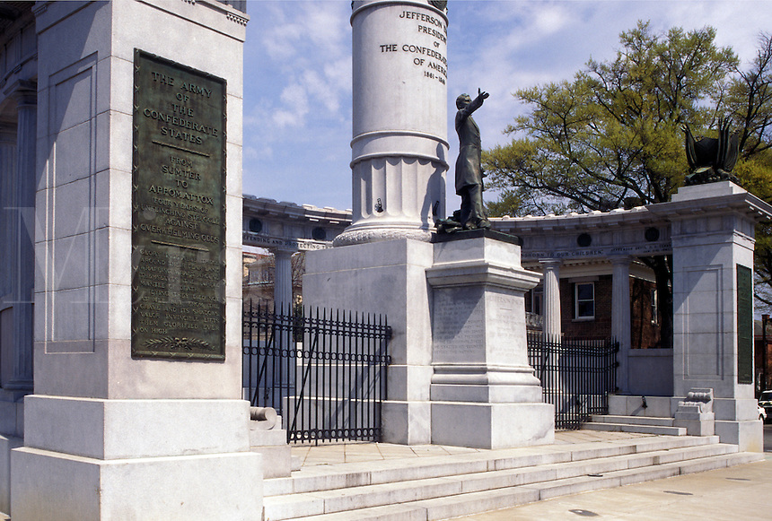 Richmond, Virginia, VA, Jefferson Davis Monument on Historic Monument Avenue in Richmond.