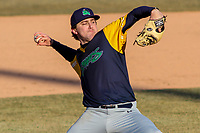 Beloit Snappers pitcher Wyatt Marks (31) delivers a pitch during a Midwest League game against the Wisconsin Timber Rattlers on April 7, 2018 at Fox Cities Stadium in Appleton, Wisconsin. Beloit defeated Wisconsin 10-1. (Brad Krause/Four Seam Images)