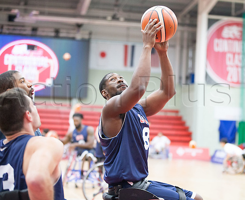 03.07.2016. Leicester Sports Arena, Leicester, England. Continental Clash Wheelchair Basketball, USA versus Japan.  Brian Bell (USA) catches the ball on the rebound