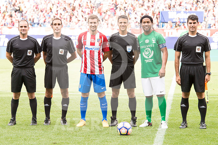 Atletico de Madrid Legends's Gabi Fernandez and World Legend's Ronaldinho during friendly match to farewell  to Vicente Calderon Stadium in Madrid, May 28, 2017. Spain.<br /> (ALTERPHOTOS/BorjaB.Hojas)