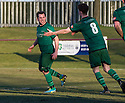 Stirling's Chris Geddes celebrates with Stirling's Owen Kelly (8) after he scores their second goal from the penalty spot.