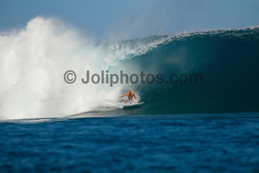 Namotu Island Resort, Fiji. (Wednesday, May 30, 2012) kelly Slater (USA). -   Namotu Lefts, Swimming Pools and Cloudbreak provided clean  waves today. Cloudbreak was in the 8' plus range and virtually perfect with light winds clear blue skies and pumping surf.The swell was from the south running down the reef with John John Florence (HAW), Kelly Salter (USA), Ace Buchan (AUS) and Mick Fanning (AUS) ripping it up in preparation for the Volcom Fiji Pro which begins on Sunday. There was virtually no wind and clear blue skies for the whole day. Photo: joliphotos.com
