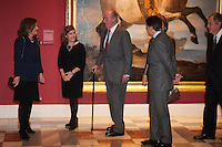 King Juan Carlos I of Spain and Queen Sofia of Spain attend a painting exhibition with Soraya Saenz de Santamaria, Ignacio Gonzalez and Ana Botella at Palacio Real in Madrid, Spain. November 03, 2014. (ALTERPHOTOS/Victor Blanco) /NortePhoto.com