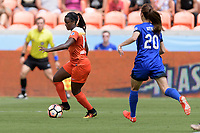 Houston, TX - Saturday May 27, 2017: Nichelle Prince brings the ball up the field during a regular season National Women's Soccer League (NWSL) match between the Houston Dash and the Seattle Reign FC at BBVA Compass Stadium.