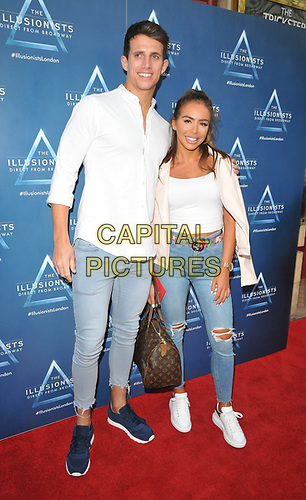 "Callum MacLeod and Elma Pazar at the ""The Illusionists"" show press night, Shaftesbury Theatre, Shaftesbury Avenue, London, England, UK, on Wednesday 10th July 2019.<br /> CAP/CAN<br /> ©CAN/Capital Pictures"