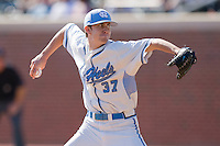 Relief pitcher Chris Munnelly #37 of the North Carolina Tar Heels in action against the Florida State Seminoles at Boshamer Stadium March 20, 2010, in Chapel Hill, North Carolina.  Photo by Brian Westerholt / Four Seam Images